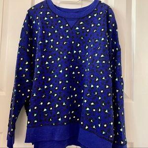 Kate Spade Blue Cheetah Sweatshirt Large